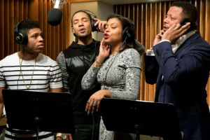 "TV STILL -- DO NOT PURGE -- EMPIRE: The Lyon family comes together to record a legacy album in the ""The Lyon's Roar"" episode of EMPIRE airing Wednesday, Feb. 25 (9:01-10:00 PM ET/PT) on FOX. Pictured L-R: Bryshere Gray, Jussie Smollett, Taraji P. Henson and Terrence Howard. ©2015 Fox Broadcasting Co CR: Chuck Hodes/FOX"